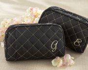 Cosmetic Couture Quilted  Monogrammed Make-Up Bag 15012X Backorder Letter A,B,C,D,H,K,L,N,R,S