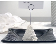 White Wedding Cake Place Card Holder Item  # 5438