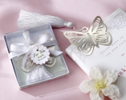 Butterfly Silver-Metal Bookmark with White Silk Tassel 14042NA