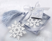 Snowflake Bookmark with Silver Finish and Elegant Ice-Blue Tassel 14043NA