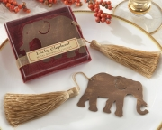 Lucky Elephant Metal Bookmark with Elegant Gold Silk Tassel 14046GD