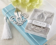 Fleur-de-Lis Metal Bookmark with Elegant White-Silk Tassel 14057NA