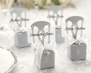 Miniature Silver Chair Favor Box w/  Heart Charm & Ribbon (Can be Monogrammed) 15005SV