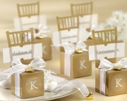 Miniature Gold Chair Favor Box with Heart Charm and Ribbon (Can be Monogrammed) (Set of 12) 15008GD