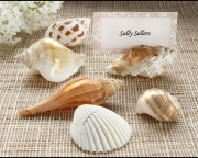 Shells by the Sea Authentic Shell Placecard Holders with Matching Placecards (Set of 6) 17016NA