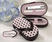 Pink Polka Flip Flop Four Piece Pedicure Set with Matching Thank you Tag 18013NA