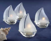Set Sail Frosted Glass Sailboat Tealight Holders, Set of 4 20060NA