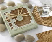 Natural Bamboo Eco-Friendly Coaster Favors (Four Coasters per Favor!) 22014NA