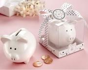 Li'l Saver Favor Ceramic Mini-Piggy Bank in Gift Box with Polka-Dot Bow 23016WT