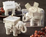 Lucky Elephant Antique Ivory Finish Tea Light Holder 25062IV
