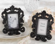 Black Baroque Elegant Place Card Holder/Photo Frame 25067BK