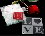 LOVE Glass Coaster Gift Set with Ribbon and Thank You Tag 27005NA