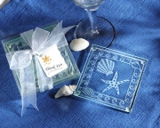 Shell and Starfish Frosted Glass Coasters 27013NA