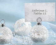 Snow Flurry Flocked Glass Ornament Place Card/Photo Holder (Set of 6) 27023NA