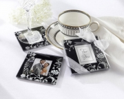 Timeless Traditions Elegant Black & White Glass Photo Coasters 27032BK