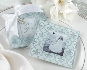 Fleur-de-Lis Frosted-Glass Photo Coasters (Set of 2) 27039NA