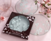 Cherry Blossoms Frosted Glass Coasters 27040NA