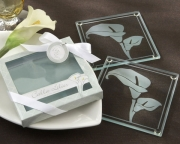 Calla Lilies Frosted-Glass Coasters in Floral-Inspired Gift Box 27048GN