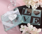 Clearly in Love LOVE Glass Coasters (Set of 2) 27058NA