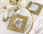 Golden Brocade Elegant Glass Photo Coasters 27061GD
